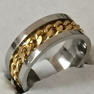 Other - Sz 12 Stainless Steel w/Gold Tone Chain- New